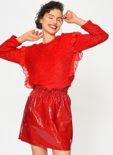 Loves You Saçaklı Simli Bluz Kırmızı